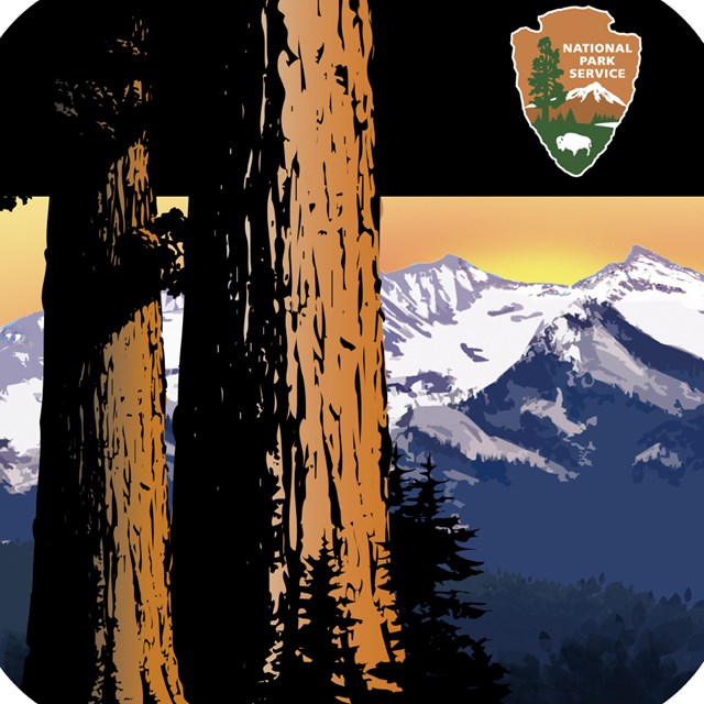 Two sequoia trunks are in front of mountains. A black bar covers the top, with a NPS arrowhead