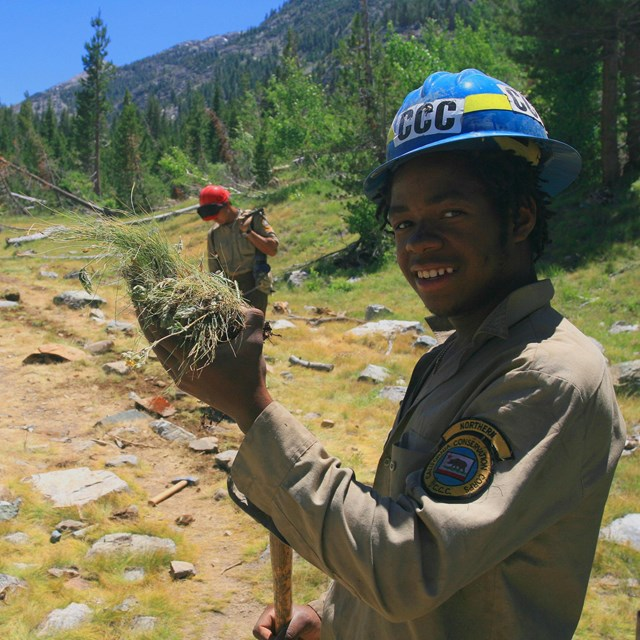 California Conservation Corps crew members clear a trail in Kings Canyon