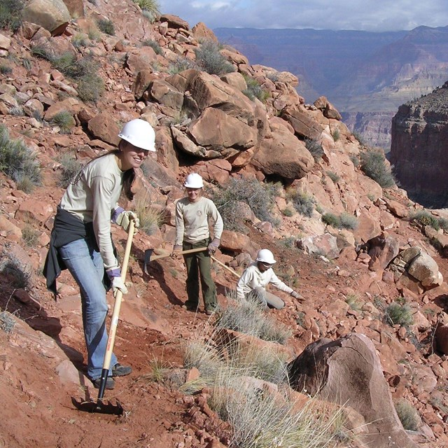 ACE crew members work on a trail in the Grand Canyon.