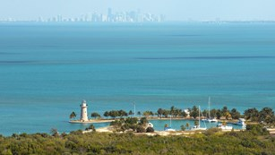 Aerial view of Miami skyline and Biscayne National Park