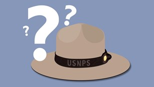 A graphic of a large, flat-brimmed hat with question marks surrounding it.