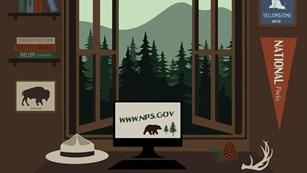 A graphic of a computer on a desk in front of windows that are opened to the forest and mountains.