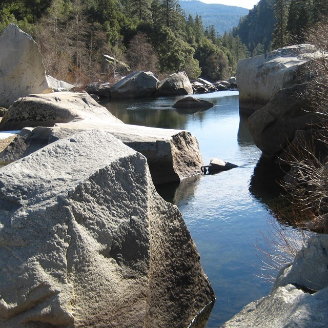 Boulders and shoreline, Merced River, Yosemite