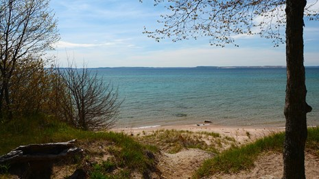 A beach campsite on South Manitou Island.