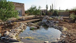 Artificial stream at the Desert Research Learning Center