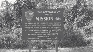 Anhinga Mission 66 sign at Everglades National Park