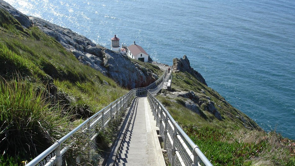 Stairs lead down to a lighthouse on the Point Reyes National Seashore