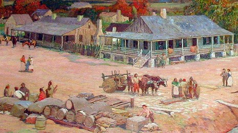 Illustration of activity in the town of Sainte Genevieve. People are gathering in a dirt road.