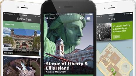 New Statue of Liberty app displayed on iPhone.