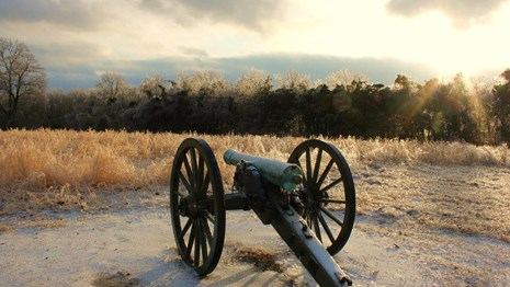 A cannon sits in the foreground of an ice covered field.