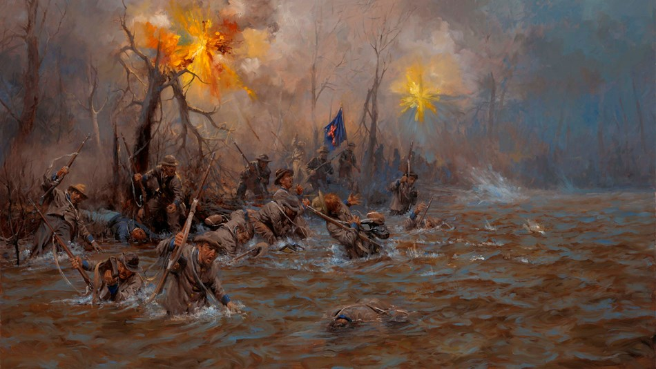 Painting of Confederate soldiers wading across a river while under fire.