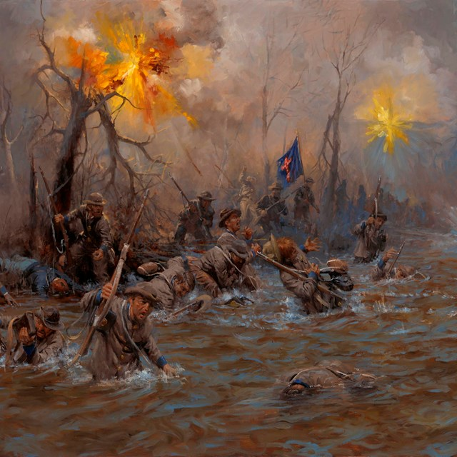 Confederate soldiers crossing a river under fire.