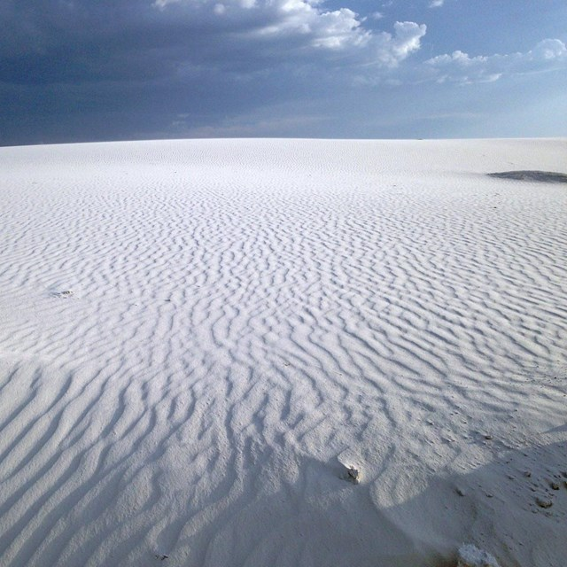 Rippled, white sand dunes in White Sands National Monument
