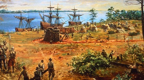 Painting of colonial town. Sidney E. King, artist, Colonial National Historical Park
