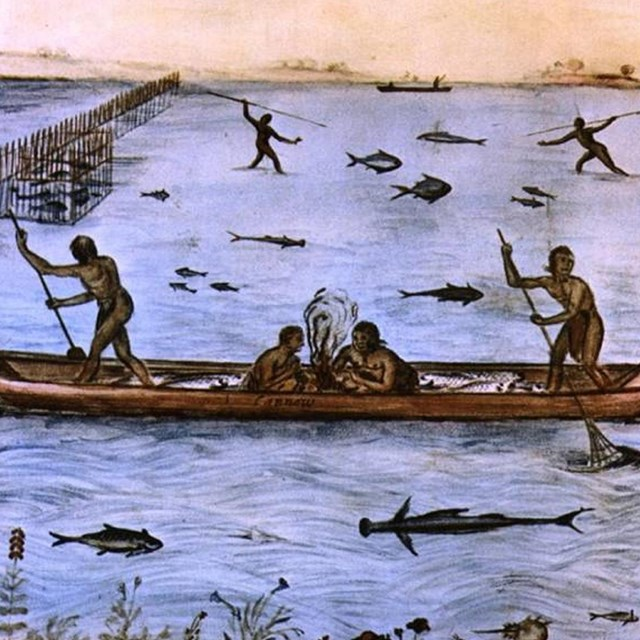 drawing of indigenous people fishing.