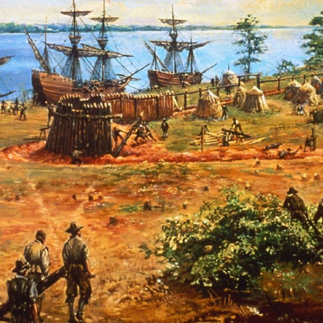 Painting of men walking to colonial town with ships. Photo: Sidney E. King, Colonial National Park