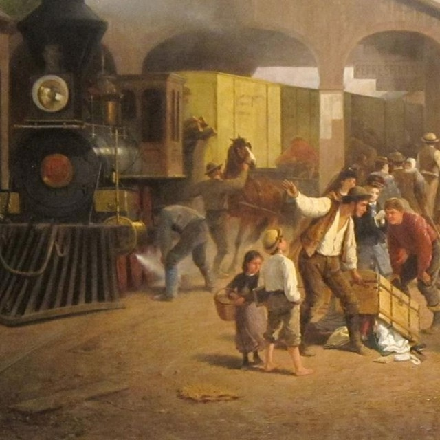 Painting of people arriving in the west by railroad.