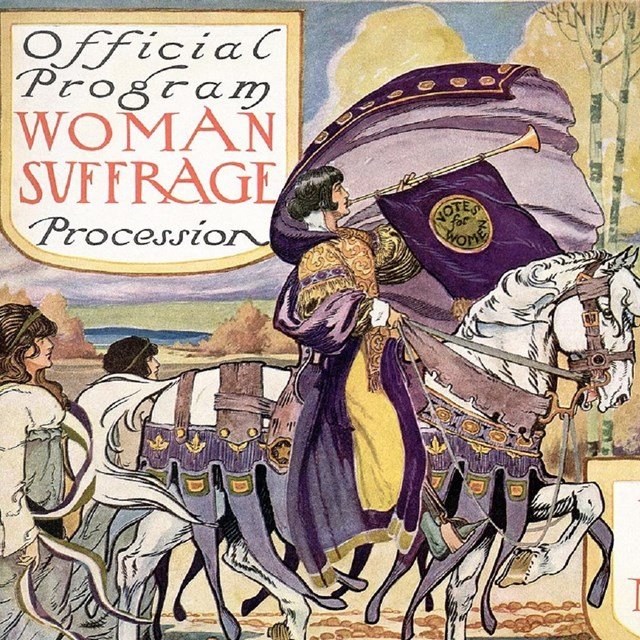 Brochure of women's suffrage parade with a woman on horseback.