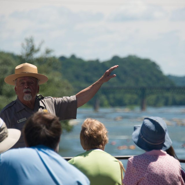 A ranger gives a program at The Point at Harpers Ferry NHP.