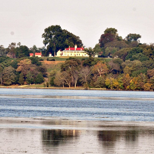 A view of Mount Vernon across the Potomac River.