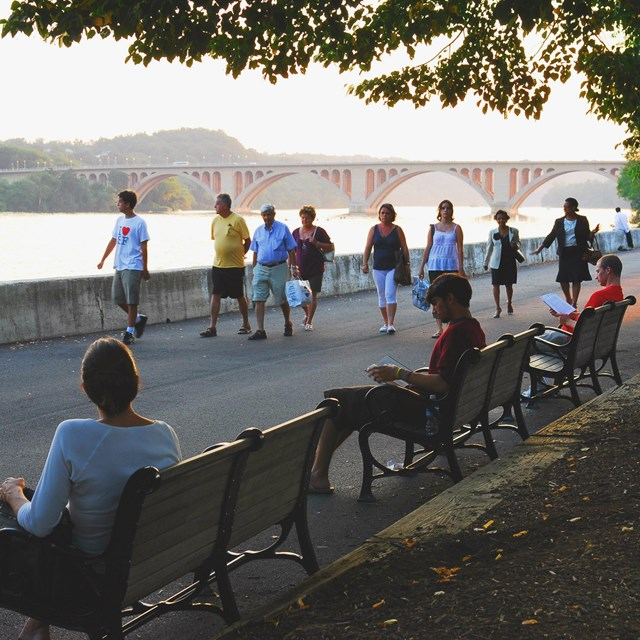 People walking on Georgetown Waterfront Path.