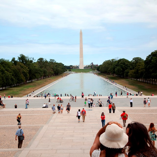 View of the Washington Monument across the Lincoln Memorial Reflecting Pool.