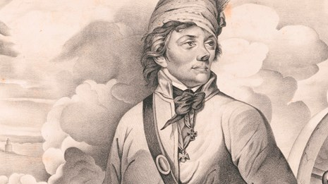 Sepia toned engraving showing a man from in military uniform with a cannon in the background.