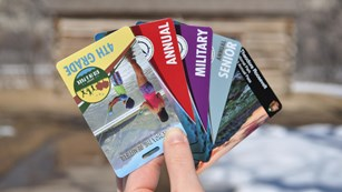 A hand holds an array of credit-card sized national park passes
