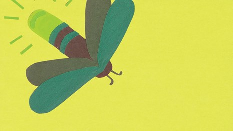 Construction paper cutout of a firefly.