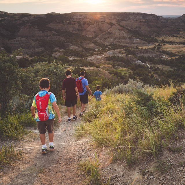 A family descends a dirt trail down into a rugged, green canyon.