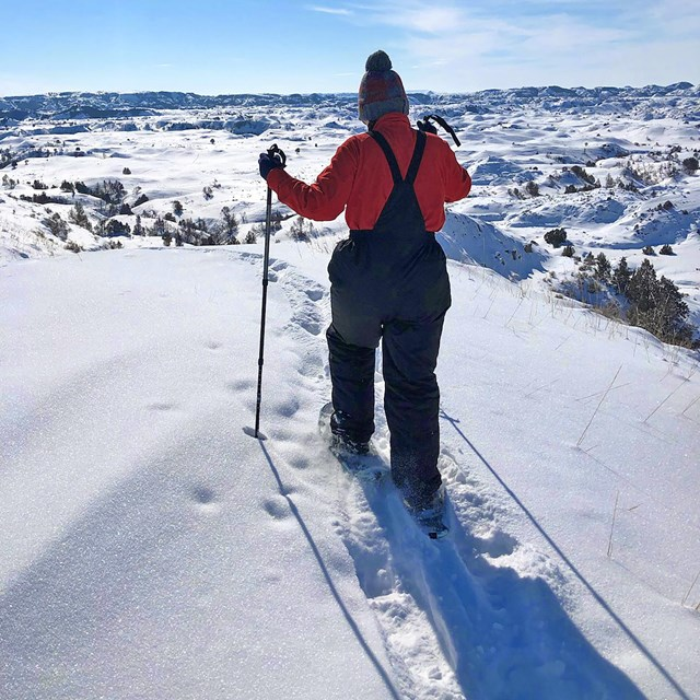 a person on snowshoes leaves tracks in the snow while descending a snowy hill into the badlands