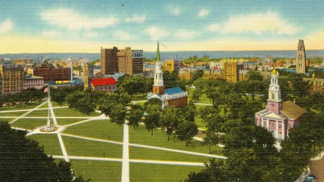 postcard areal view of new haven green