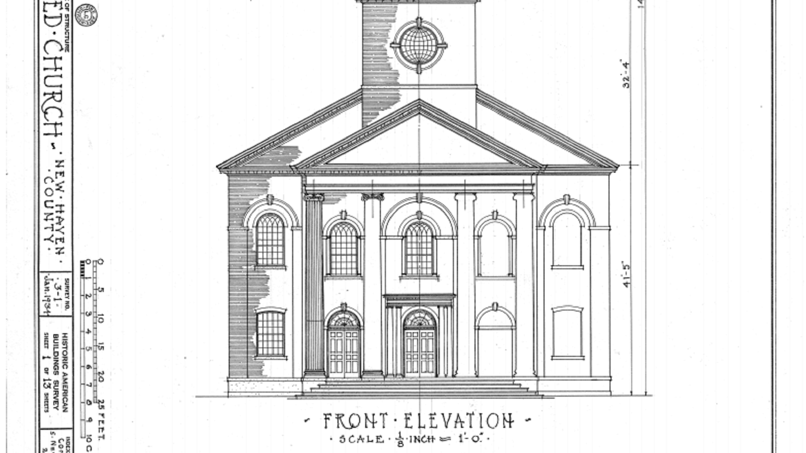 architectural drawing of the United Church on the Green