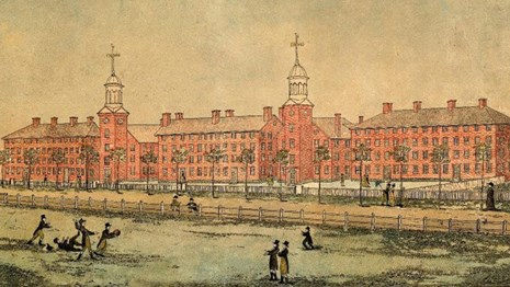 1803 drawing of Yale in new haven