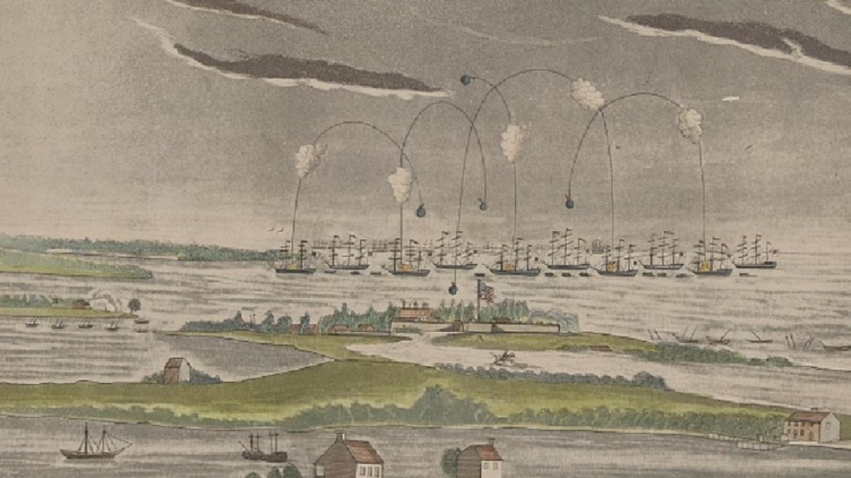 1814 bombardment of Fort McHenry, near Baltimore, by British ships