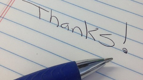 thanks! written on pad of paper