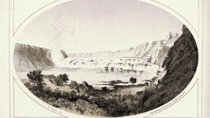 drawing of the great falls of the missouri river