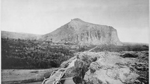 black and white photo of beaverhead rock