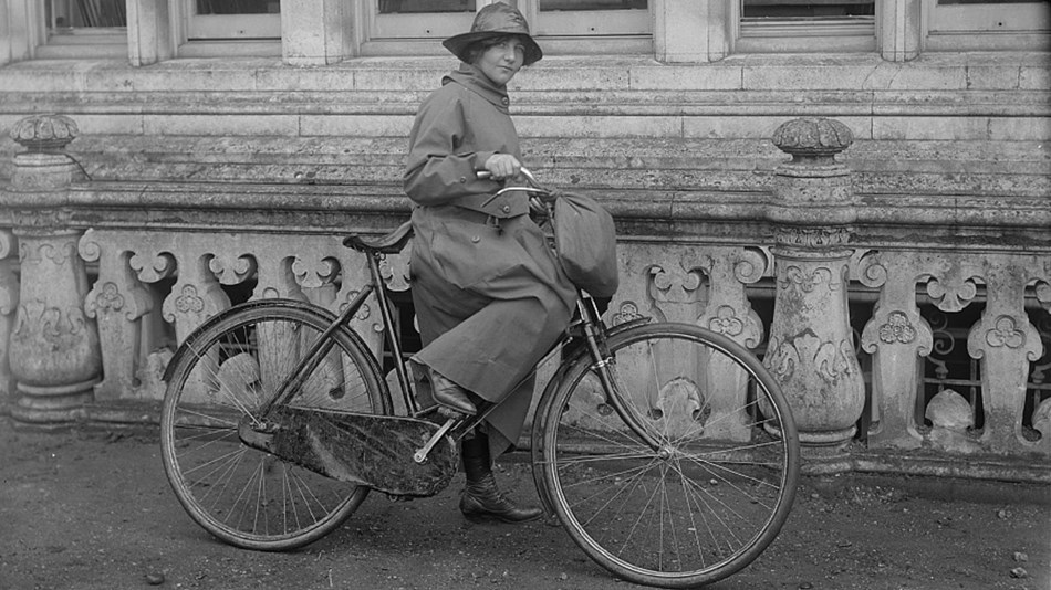 Image of woman riding a bicycle, courtesy Library of Congress.