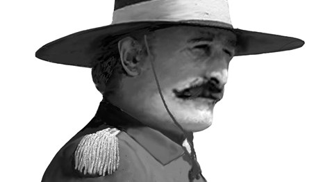 man with mustache in spanish military uniform