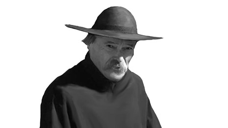 man in black robe and hat with mustache