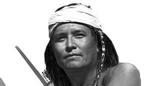 photo of native warrior with shield
