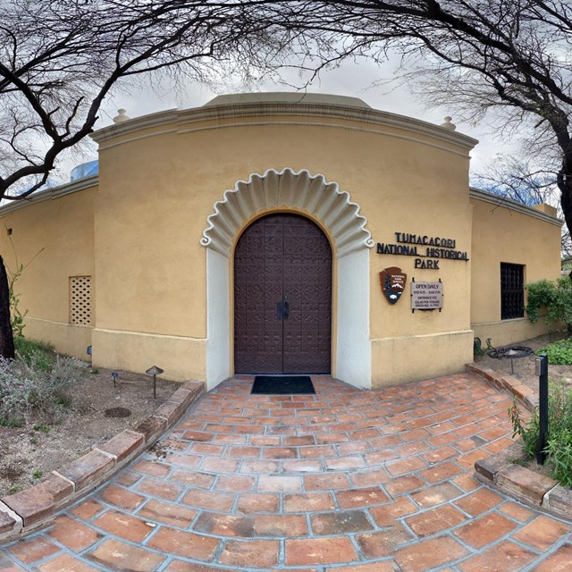 spherical panoramic image of visitor center door