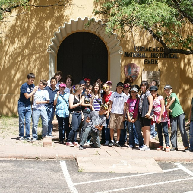 group photo in front of visitor center
