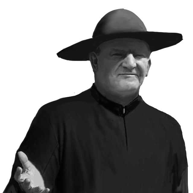 man in black robes and black hat