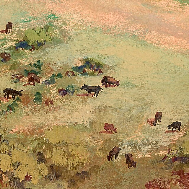 illustration of cows dotting the landscape