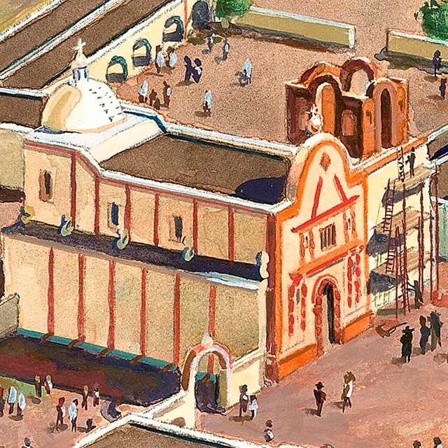 illustration of mission church with scaffolding