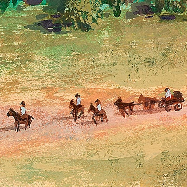 illustration of horses and riders entering mission grounds