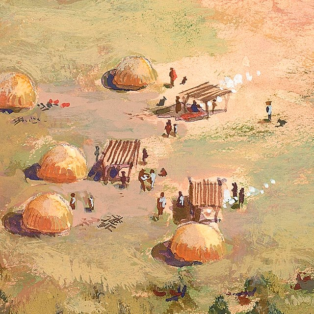 illustration of o'odham village with round thatched houses and ramadas