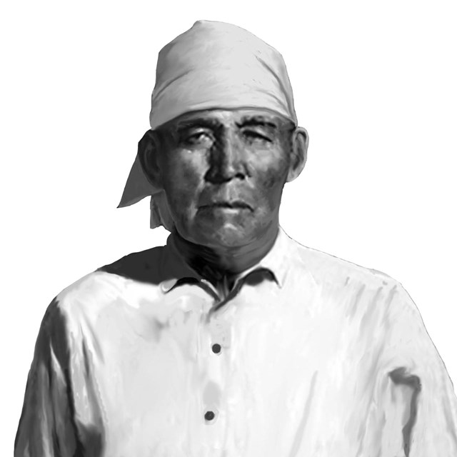 portrait of O'odham man with white head-covering and white shirt